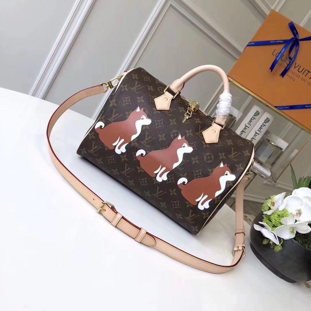 5cdb4dd1dd38 Louis Vuitton Shiba Inu Monogram Canvas Speedy Bandoulière 30 Bag M41112  2018