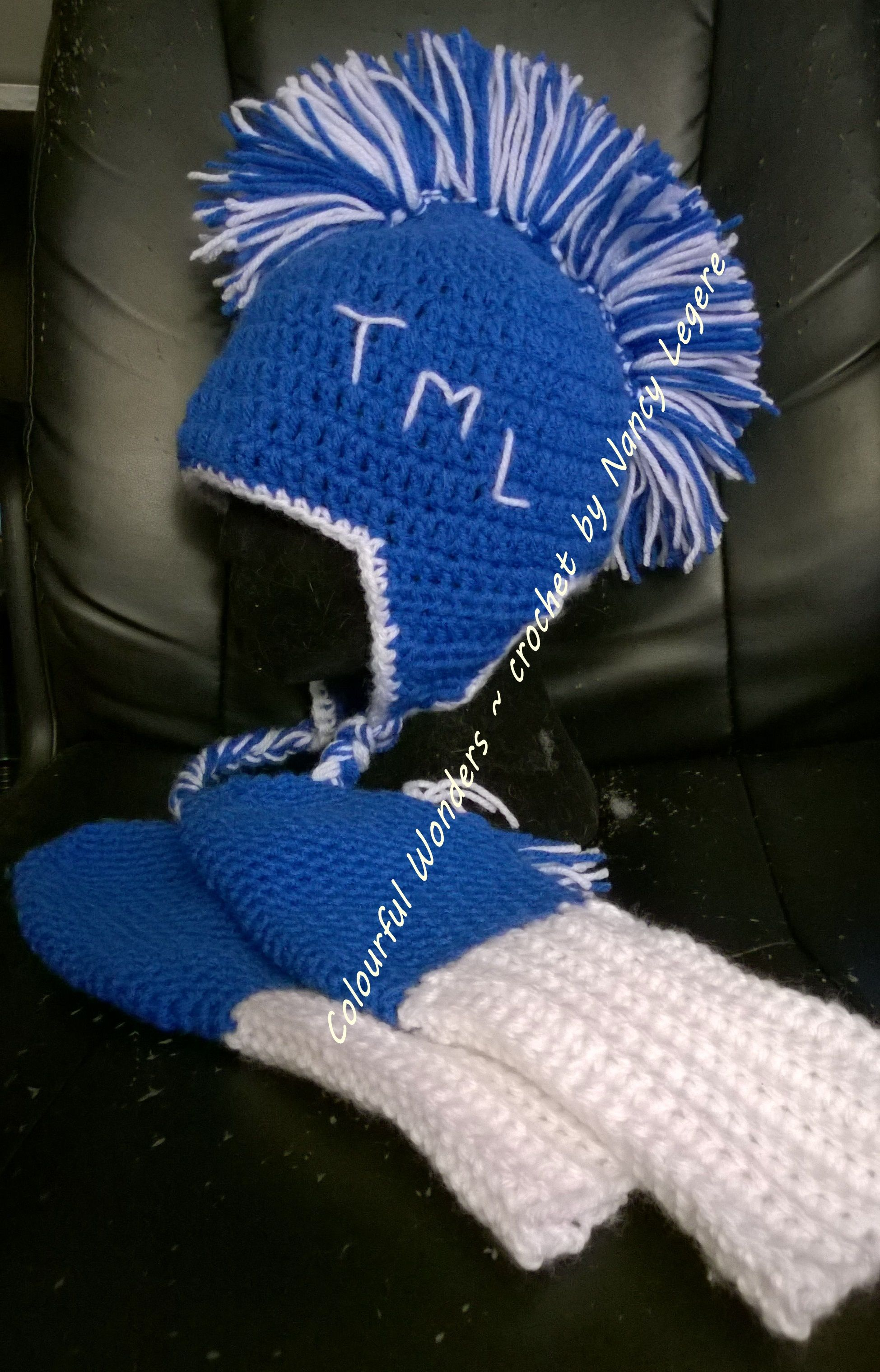Crochet toronto maple leaf mohawk hat with matching mitts made by