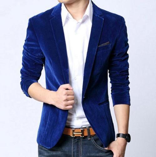 brillante en brillo última moda comprar más nuevo Moda-Hombre-Entallado-Terciopelo-Pana-Traje-Ajuste-Americana ...