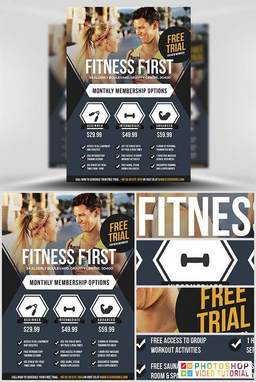 Pin By Anuj Kumar On Free Download Fitness Flyer Psd Template