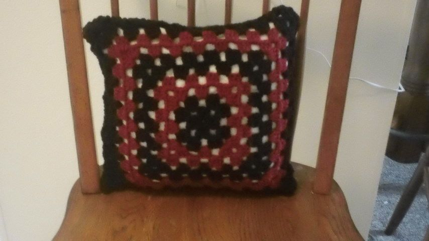 front of granny square pillow