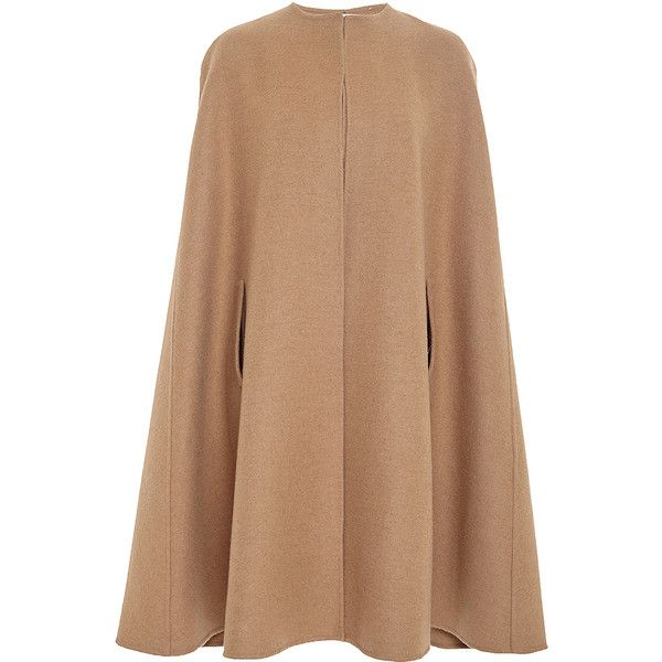Oscar de la Renta Tan Camel Hair and Wool Cape (148,970 DOP) ❤ liked on Polyvore featuring outerwear, camel cape coat, wool cape coat, camel cape, oscar de la renta and woolen cape