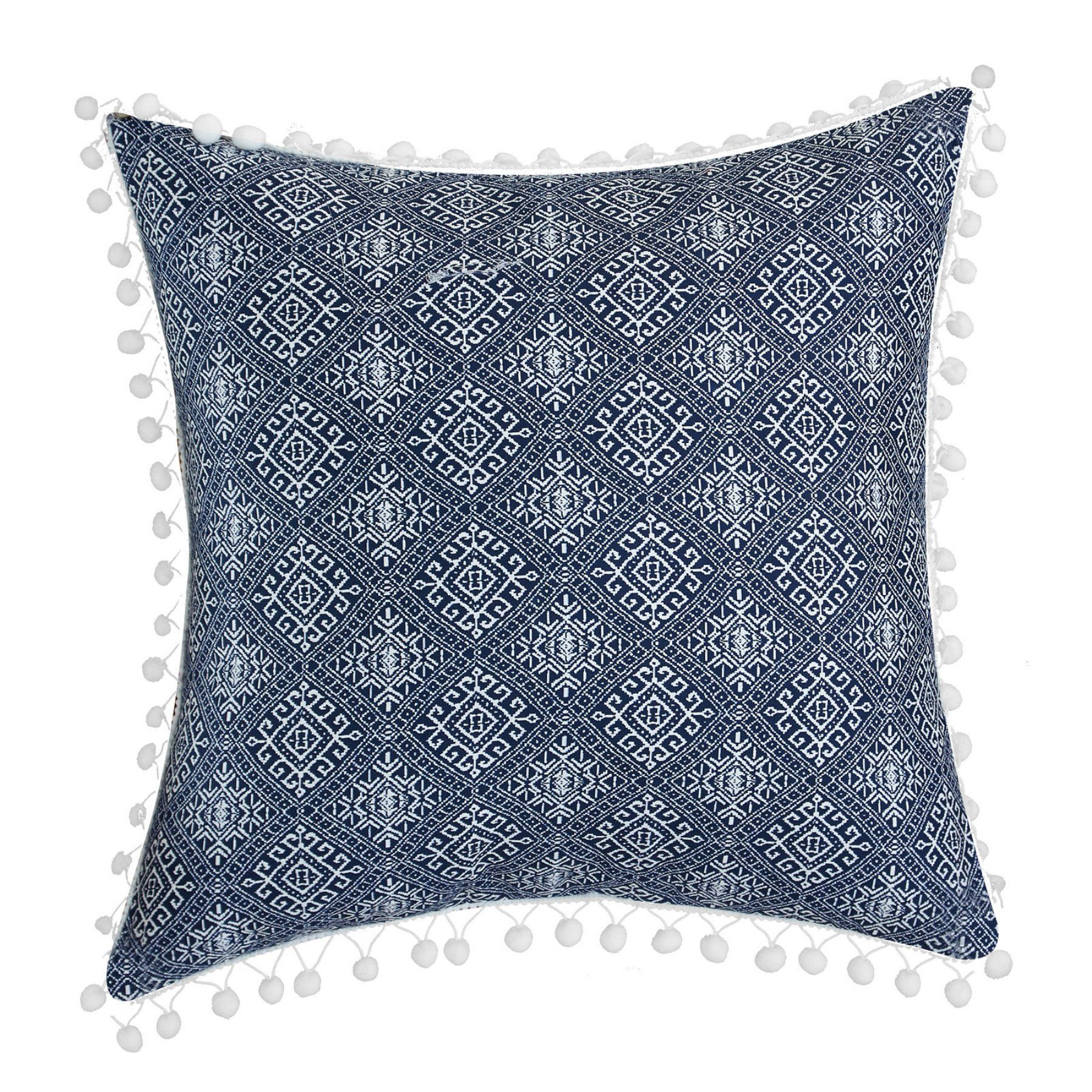 Lux Bed Pearce Garden Aztec Kilim Embroidered Decorative Pillow With Pom Pom Trim In 2019 Products Throw Pillows White Decorative Pillows Navy Pillows