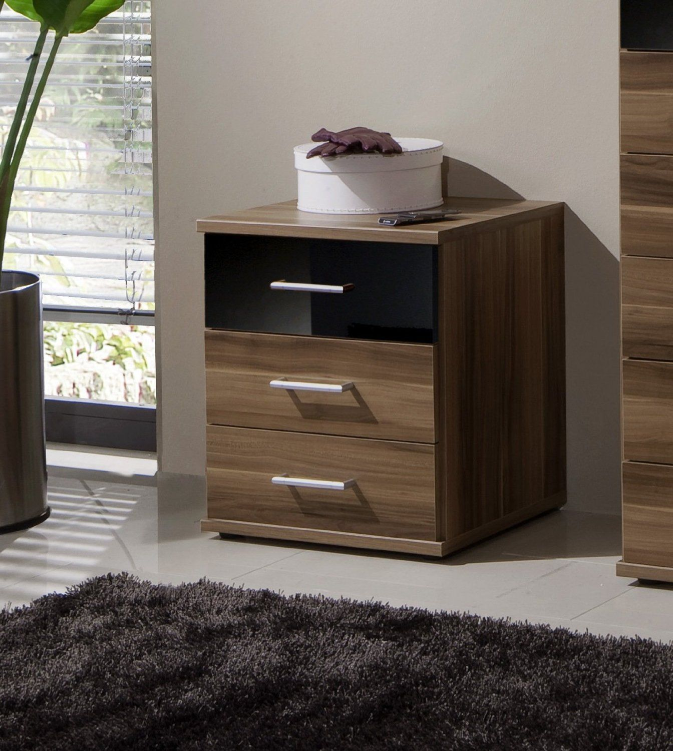 Dresden Bedside Chest Of Drawers Black Gloss and Walnut Effect by furniturefactor: Amazon.co.uk: Kitchen & Home