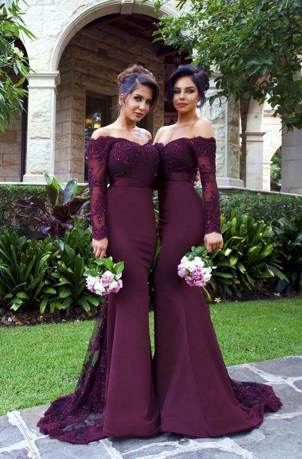 2017 Sexy Mermaid Long Sleeve Lace Long most popular Bridesmaid Dresses  with Small Train The short bridesmaid dresses are fully lined 44ac46a58764