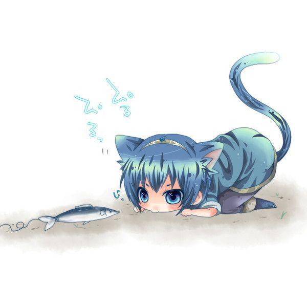 Animal Ears Blue Dress Blue Eyes Blue Hair Boooo Im Cat Ears Cat