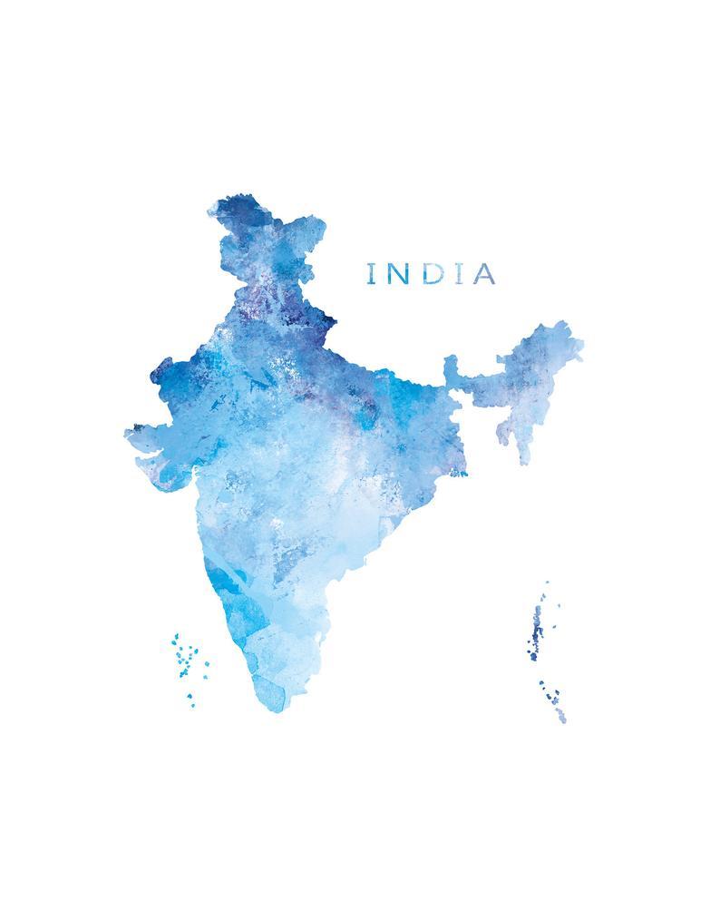 India Map Print Watercolor New Delhi Print Wall Art India Etsy India Poster India Map India Art