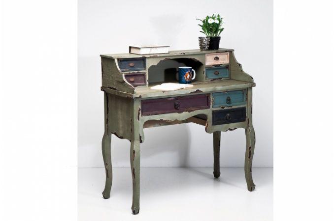 Secrétaire kare design industrie en bois coloré tommy bureau pas