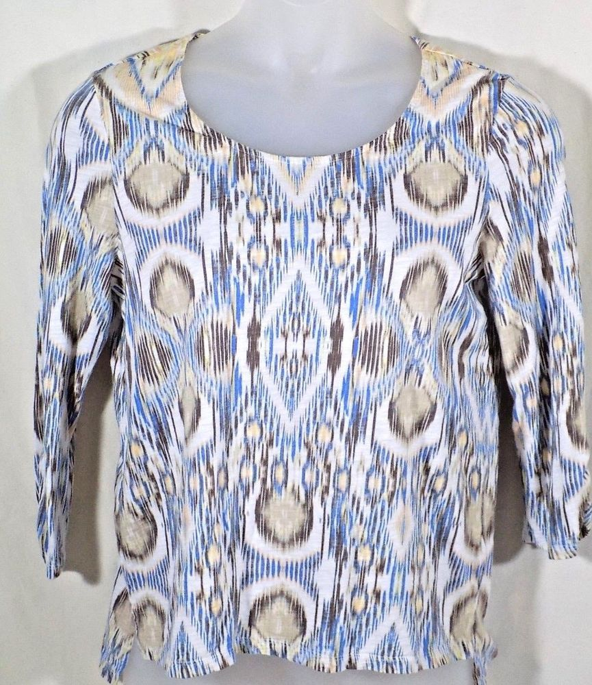 Chicos 2 Top High Low 3/4 Sleeves Southwest #Chicos #KnitTop #Casual