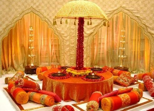 Indoor setup for mehendi rajasthani theme decor for Indoor stage decoration