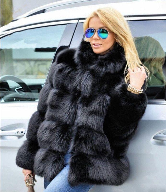 fd98cef94b High Quality Thicken Pink Faux Fur Coat Women Plus Size Stand Collar Long  Sleeve Faux Fur Jacket gilet fourrure bontjas #jewelry #jackets #women