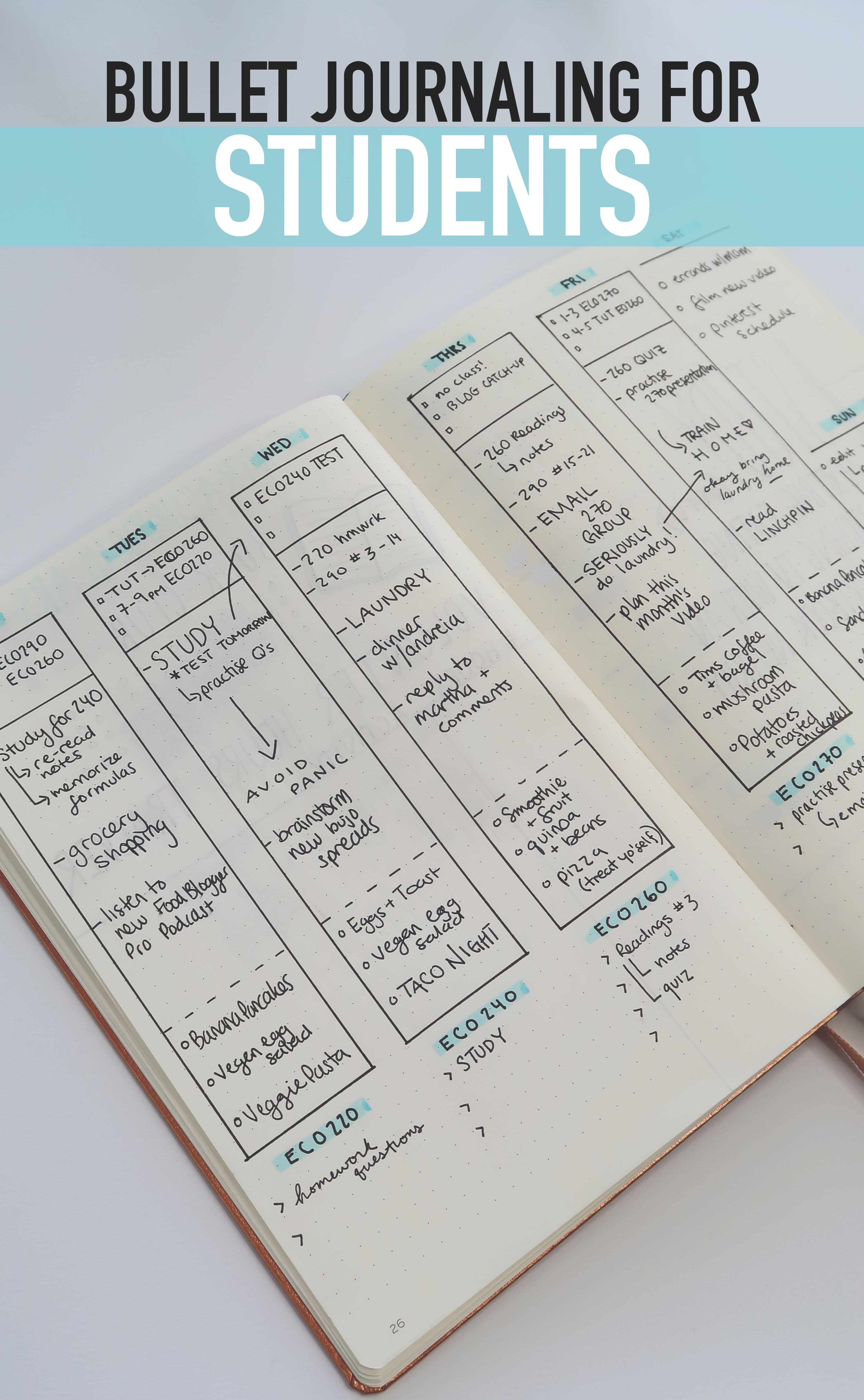 BULLET JOURNALING FOR STUDENTS! A weekly spread for ...