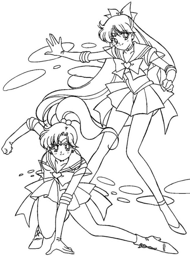 Sailor Jupiter And Sailor Venus Coloring Page Sailormoon