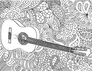 Adult Coloring Pages Guitar Davlin Publishing Adultcoloring