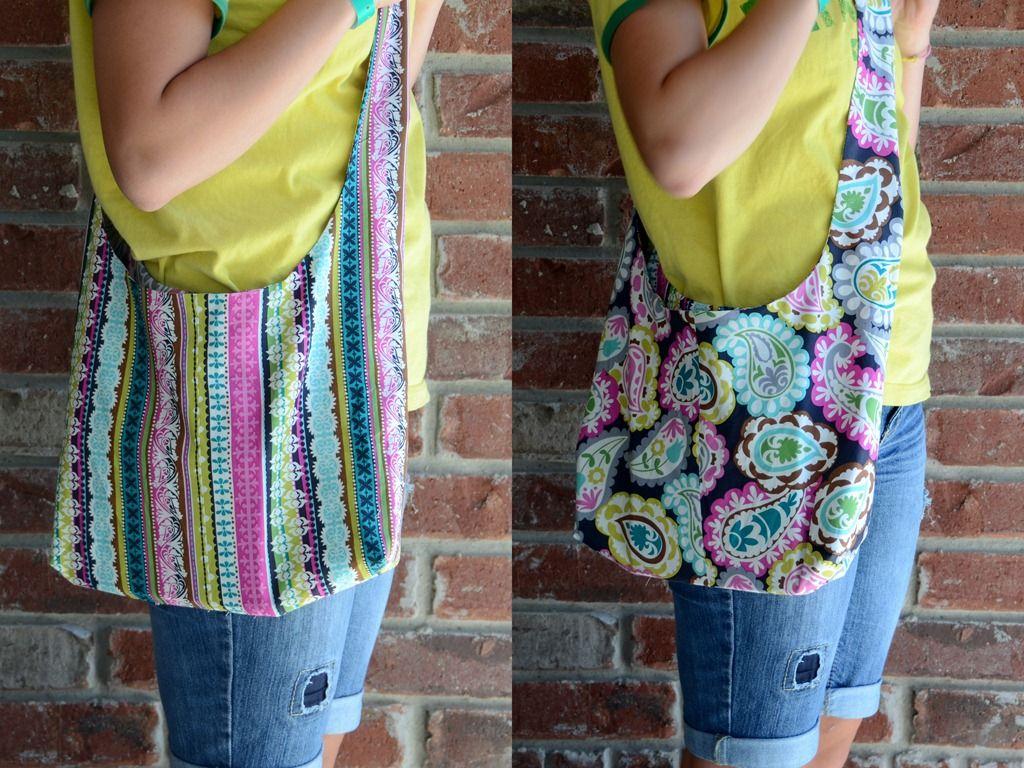 cloth pocketbook patterns | Reversible Sling Bag Tutorial | Skip To My Lou