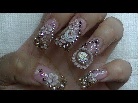 Uñas Estilo Sinaloa Con Piedras Bling Nails Duck Tips Y Bolita Giratoria