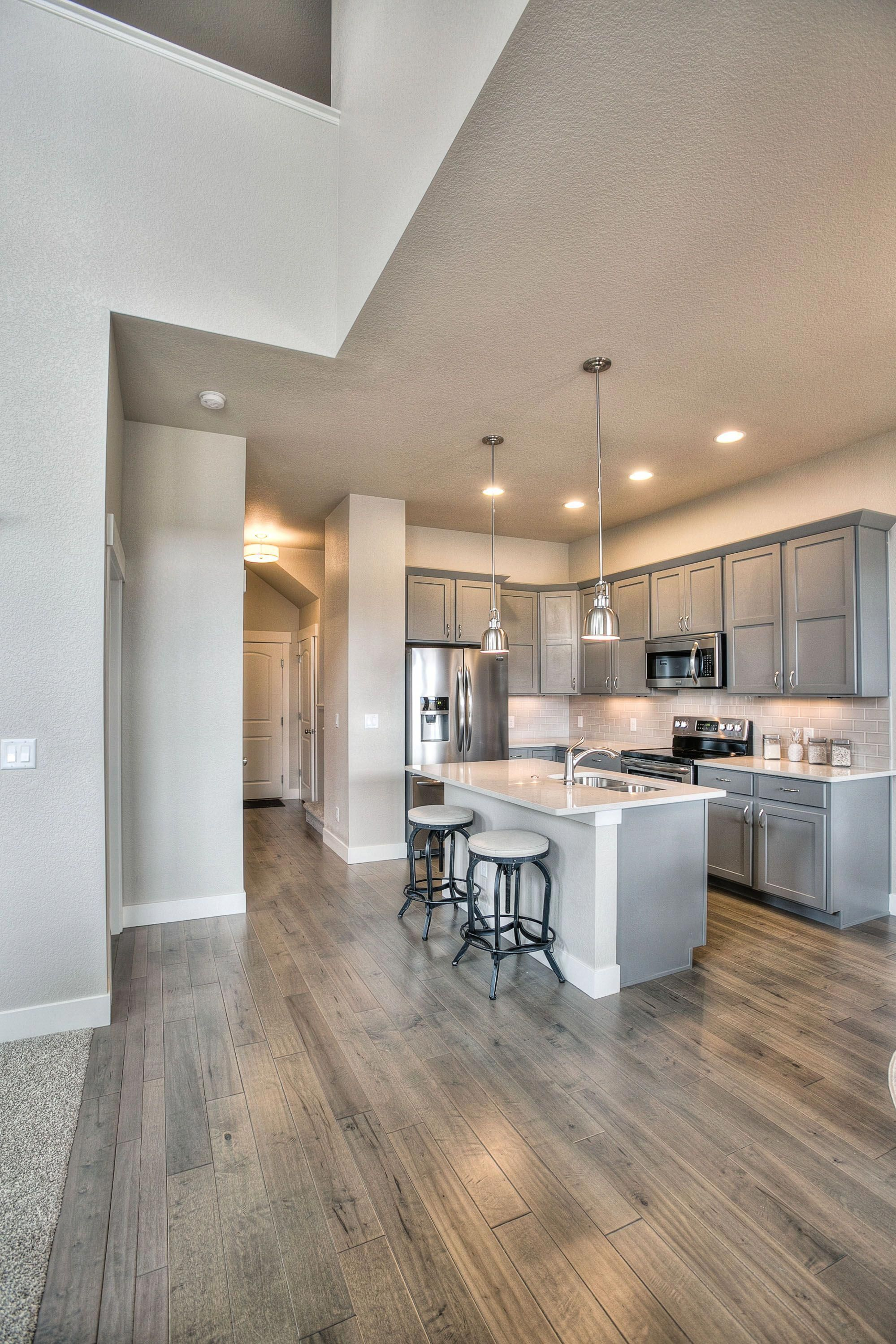 Kitchen Laundry Bathrooms Gray Shaker Maple Cabinets Woodflooringstain Grey Kitchen Floor Grey Wood Floors Kitchen Wood Floor Kitchen