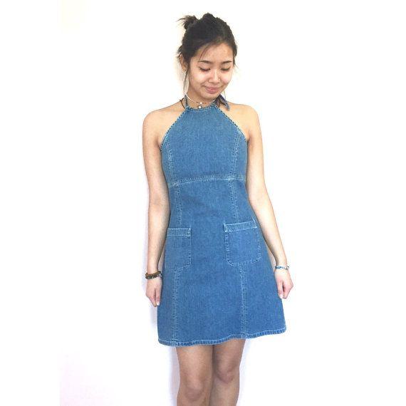 denim halter open back dress // jean dress // vintage 90s by jouyi