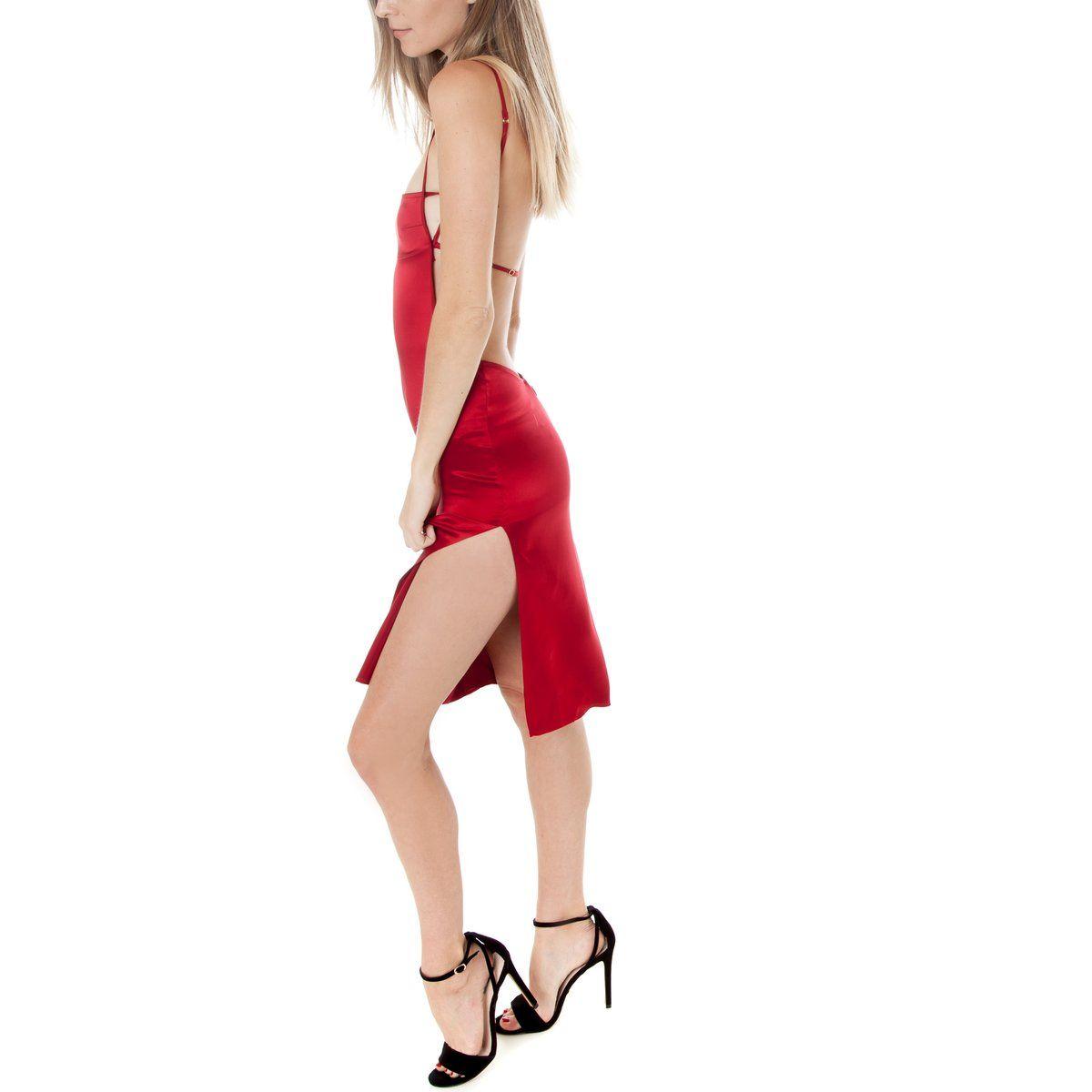 Misa midi dress midi dresses cherry red and square necklines
