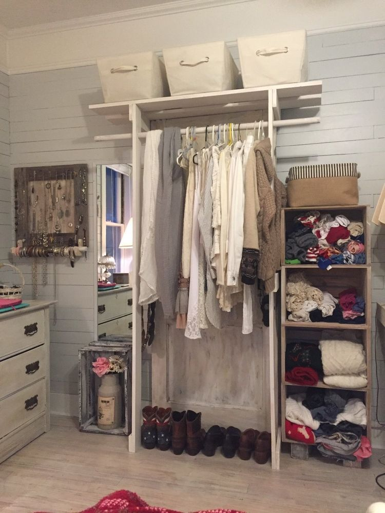 Free Standing+Closet+Made+With+an+Old+Door