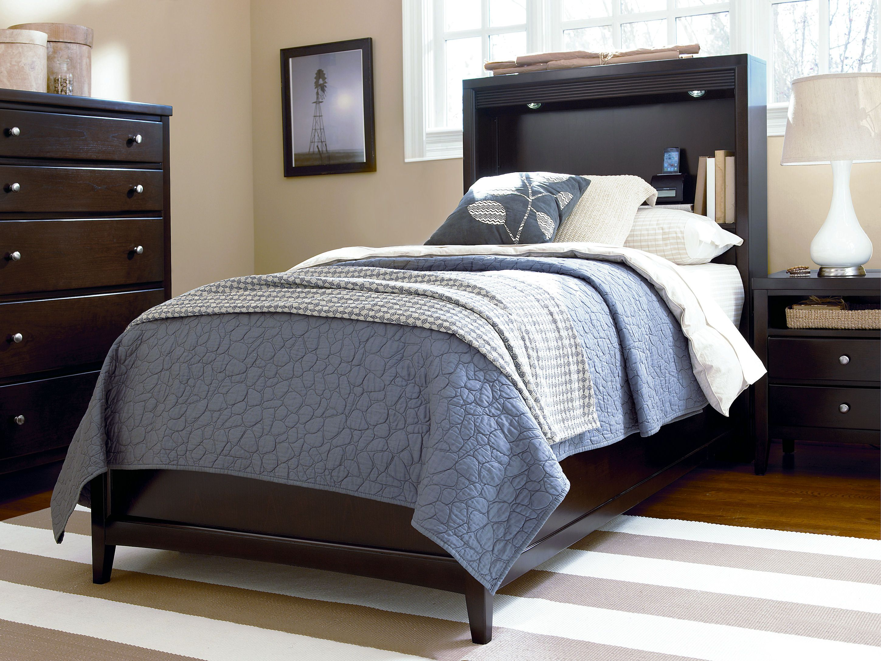 Freestyle Collection Twin Bookcase Platform Bed, Drawer