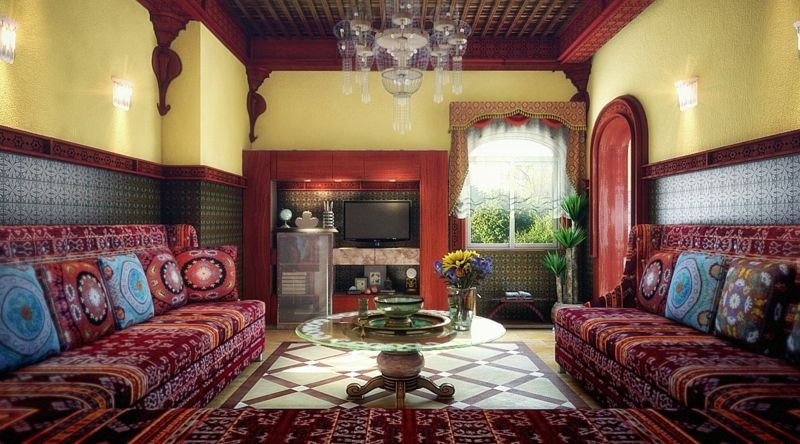 der marokkanische stil wohnzimmer idee gelb blau rot romantisch - wohnzimmer rot gelb