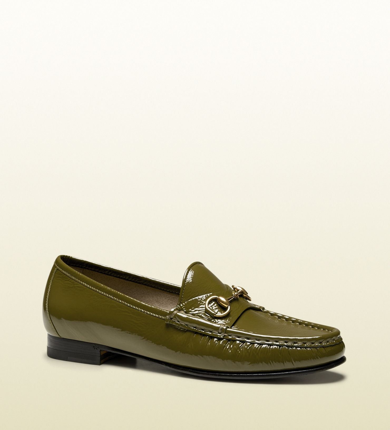 70de8c4ef93 Gucci - 338348 AB800 2402 - horsebit loafer for women - women s olive green  patent leather Made in Italy 1953 collection  60th anniversary tag horsebit  ...