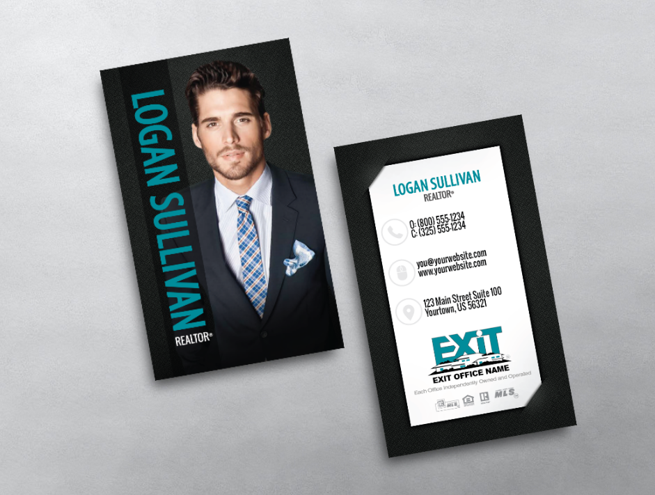 This exit realty business card is clean modern and professional if this exit realty business card is clean modern and professional if features your photo and name very prominently on the front while showcasing your colourmoves