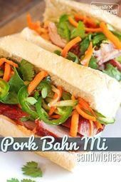 These BBQ pork Bahn Mi sandwiches will knock your socks off They are so fresh a  Banh mi