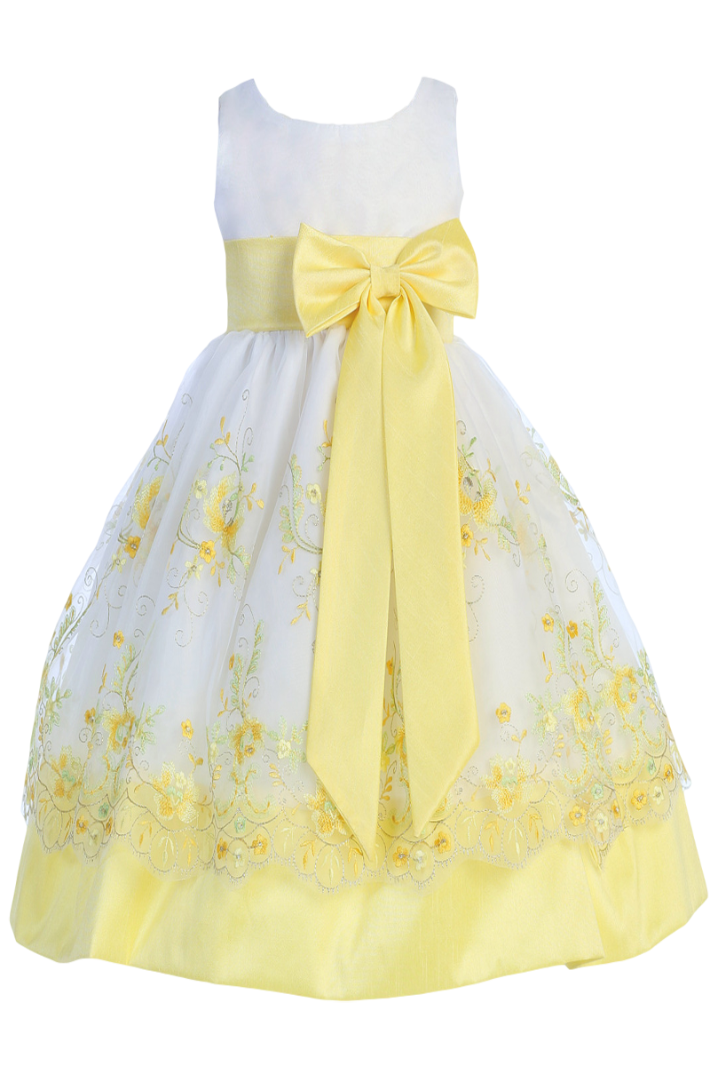 9723dab91bee White   Yellow Floral Embroidery Organza Overlay Dress with Taffeta ...
