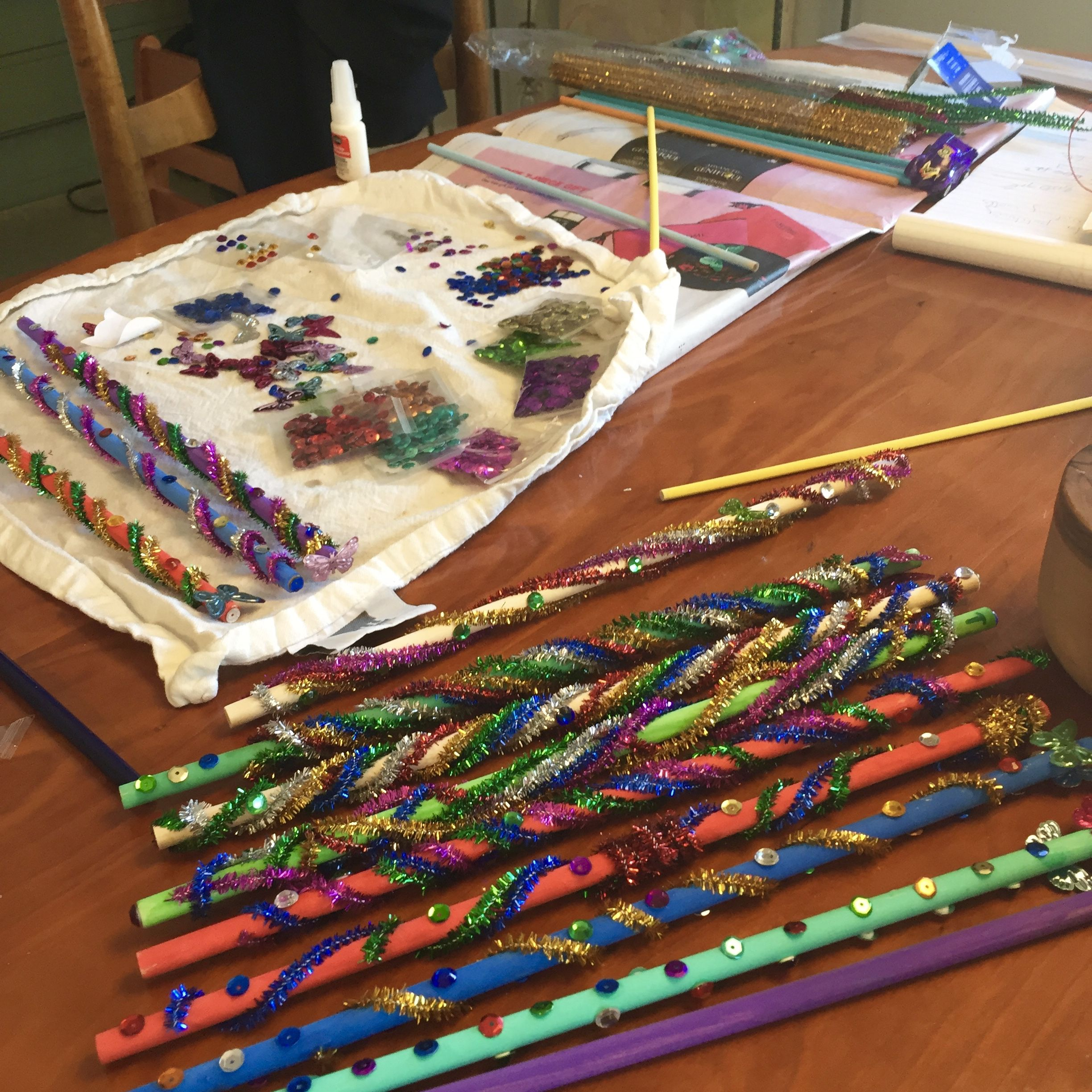 My Son And I Made Wands By Painting Dowels We Bought At Michaels Decorated Them With Pipe Cleaners Sparkly Stick Ons Used Super Glue