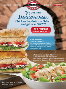 Boston Market BOGO FREE Mediterranean Chicken Sandwich or