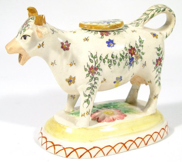 123 Staffordshire Cow Creamer And Lid With Hand Painte Lot 123 Cow Creamer Cow Cow Kitchen Decor