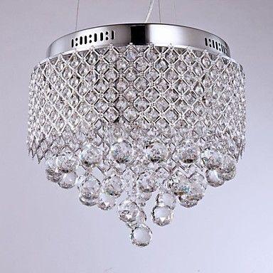 Pas cher Acier inoxydable Moderne LED Lampe de Plafonnier En Cristal