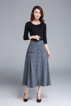 grey skirt wool skirt button skirt midi skirt warm by xiaolizi