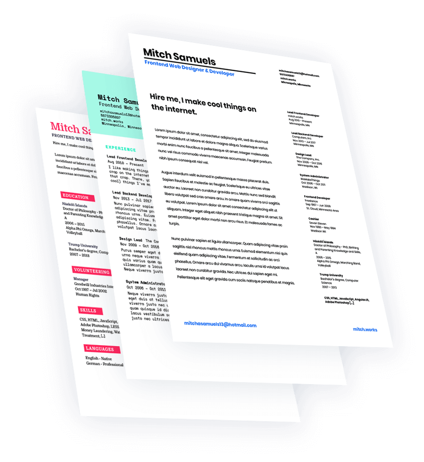 Create attractive CVs & resumes in minutes. Download the