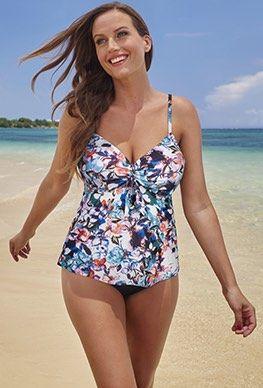 0c6db46bb7 Shore Club Bouquet Tie-Front Underwire Tankini | Plus Size Swimsuits ...