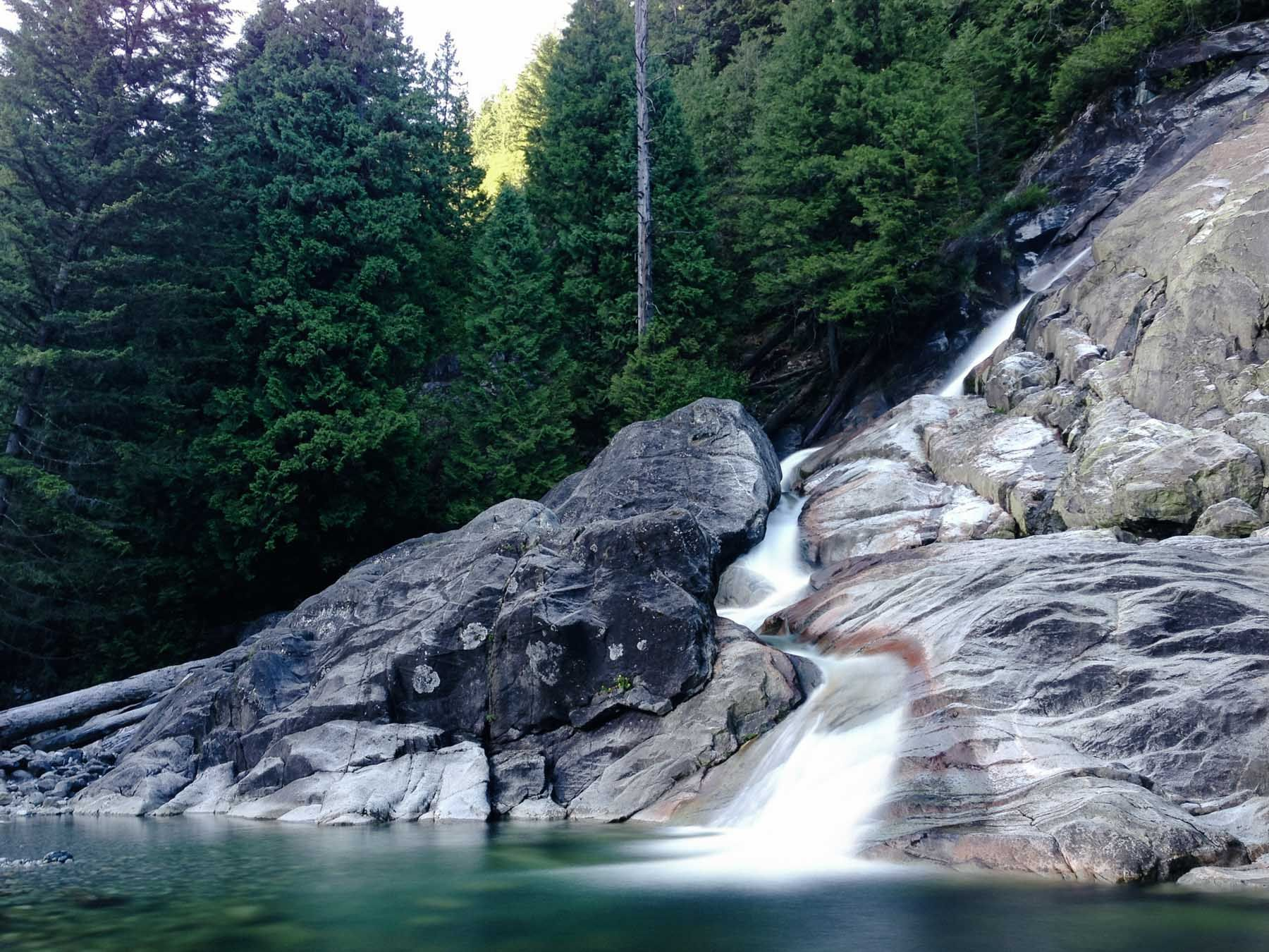 Granite Falls on the east side of Indian Arm Bike trips