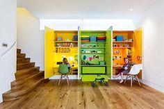 Colourful desks + storage