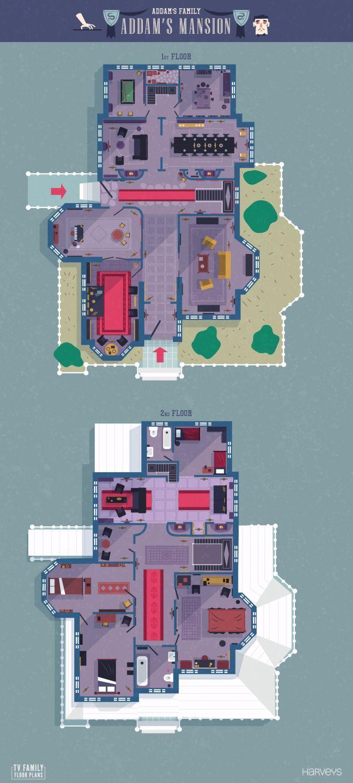 Tv Family Floor Plans Addams Family House Tv Show House House Floor Plans