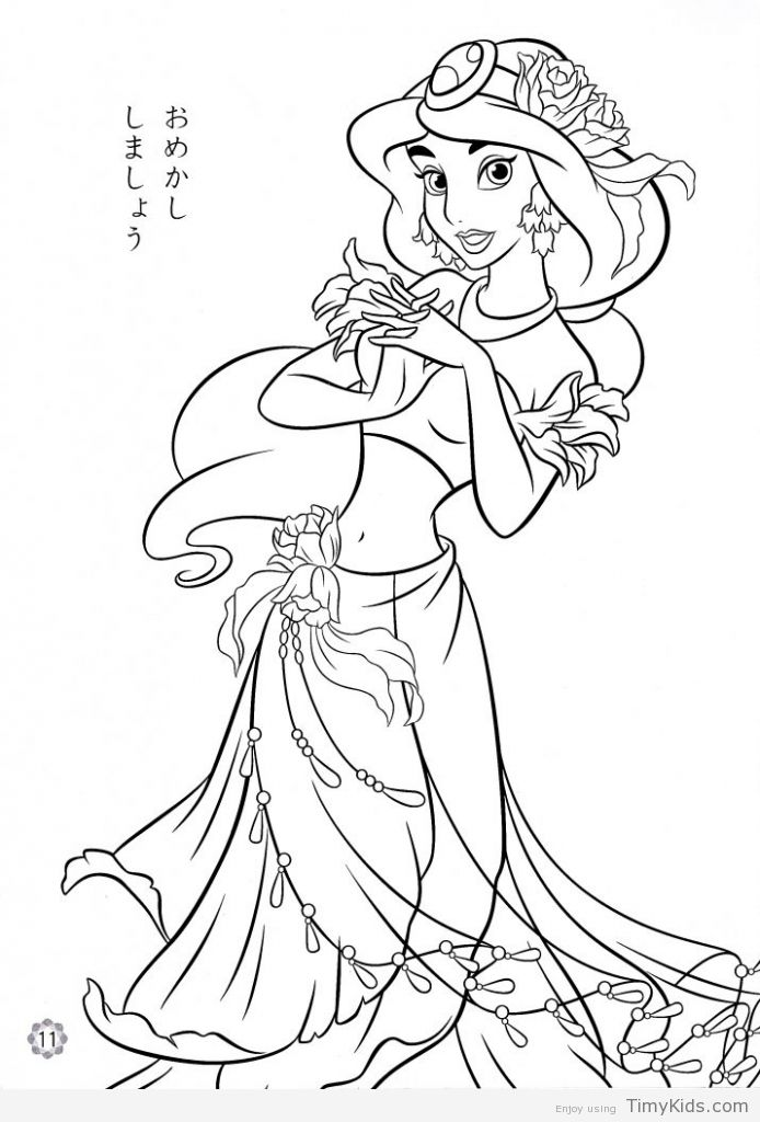 Disney Princess Jasmine Coloring Pages 1