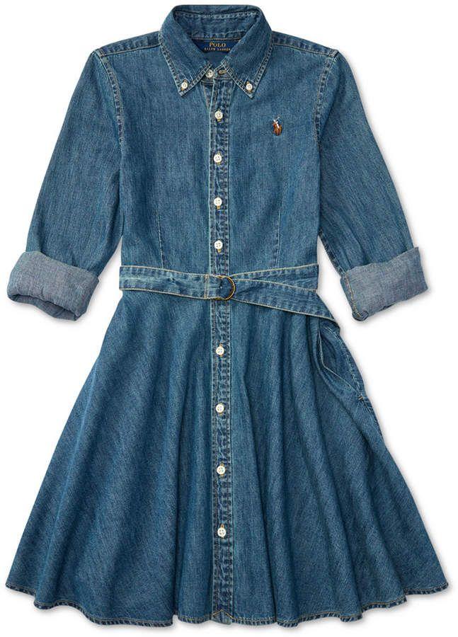 6fa59b8dd7606 Polo Ralph Lauren Ralph Lauren Denim Fit & Flare Cotton Shirtdress, Toddler  Girls
