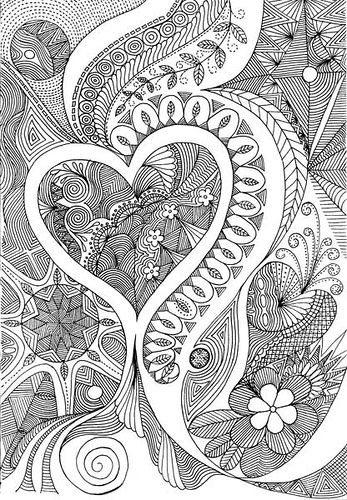 3 HEARTS Zentangle Paisley Coloring Pages Colouring Adult Detailed Advanced Printable Kleuren Voor Volwassenen Coloriage