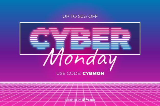 Cyber monday concept with retro futuristic style | Premium Vector #Freepik #vector #background #abstract #design #technology