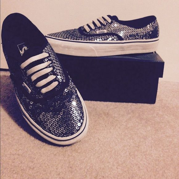 Authentic Vans black and silver sequin Black and silver sequin vans. Worn about 5 times they are too big I really like them but don't fit Vans Shoes Sneakers