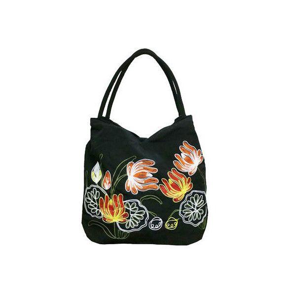 Women's Bamboo54 Hobo Embroidered Bag (480 ARS) ❤ liked on Polyvore featuring bags, handbags, shoulder bags, black, hobo handbags, bohemian purses, purse shoulder bag, bohemian shoulder bag, hand bags and top handle handbags