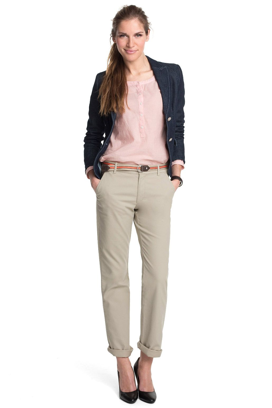 Beige Pants Pink Blouse And Navy Blazer Beige Outfit Blouse