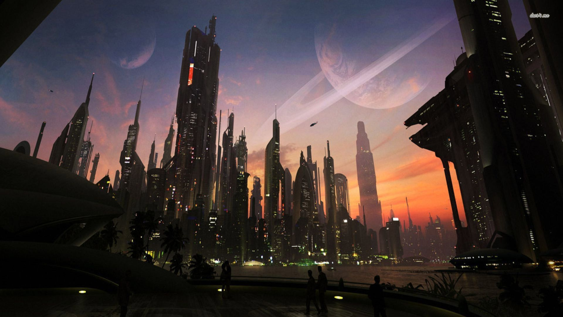 Futuristic City Fantasy Hd Wallpaper 12163 Jpg 1 920 1 080 Pixels Futuristic City Planets Wallpaper Cityscape Wallpaper