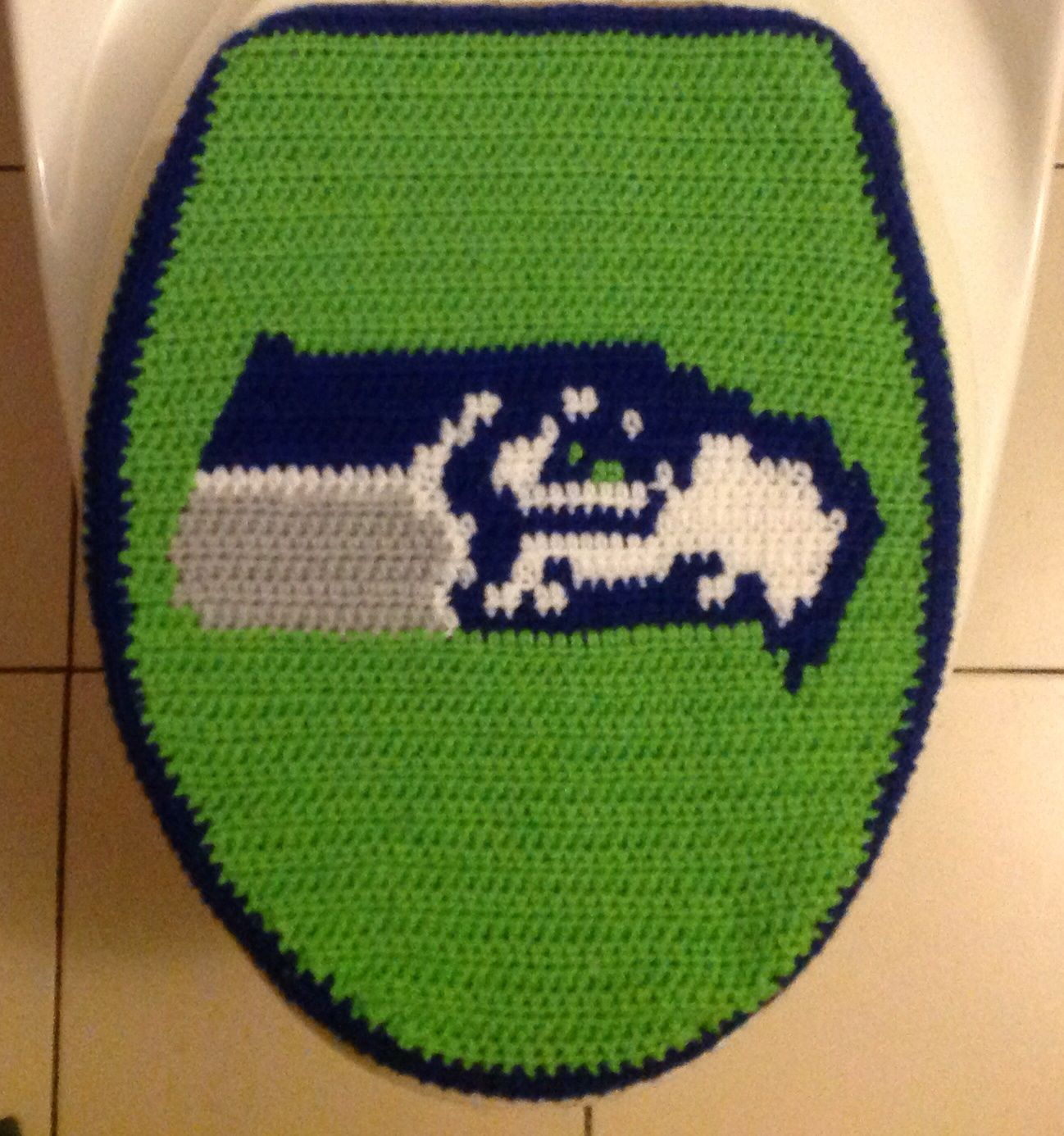 Crochet Seattle Seahawks Toilet Seat Cover By Marcelle