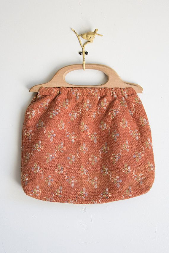 SOBIESKY purse Vintage 1970s rust and floral by GoldBanana